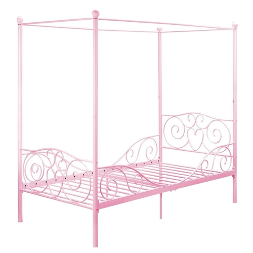 Make bedtime more enticing with this Twin size Sturdy Metal Canopy Bed in Pink. The embellished heart scroll design on both the headboard and footboard evoke an elegant, yet fun look to your princess's room. The four canopy posts, topped with gracious finials add the finishing touches to this delicate piece. Highlight its beauty even more by placing sheer curtains over the posts. The layered effect creates a special place for your little girl to play and sleep. Designed to fit a standard twin mattress, this bed includes metal slats that eliminate the need of a box spring.