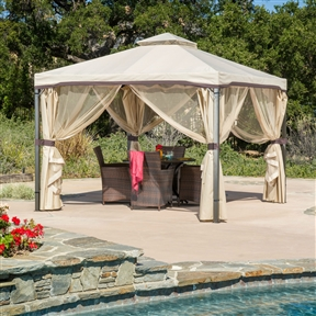 10Ft x 10Ft Steel Frame Gazebo with Polyester Canopy and Screen in Beige, HL10X1049515 :  This 10Ft x 10Ft Steel Frame Gazebo with Polyester Canopy and Screen in Beige adds a functional touch to any outdoor living space. The polyester covering offers the perfect shade solution while maintaining a clean feel. The steel frame of the gazebo is durable and comes with adjustable netting to enclose the gazebo for added shade or nighttime protection from the elements. This is the perfect piece for anything from relaxing in solace to entertaining guests. Material: Polyester and steel; Holes at bottom for anchoring if desired; Zippers on each side join in the middle to close gazebo; Bolts and hardware included; Color: Gray; Weather Resistant: Yes; Installation: Freestanding; Frame Material: Metal; Frame Material Details: Steel; Canopy Material: Polyester; Double Roof: Yes; Shape: Square; Frame Finish: Silver/Grey; Fabric Color: Beige; Distressed: No; Pieces Included: Frame; Covering; Netting;    Weather Resistant: Yes; Weather Resistant Details: Recommended to remove top during rain.