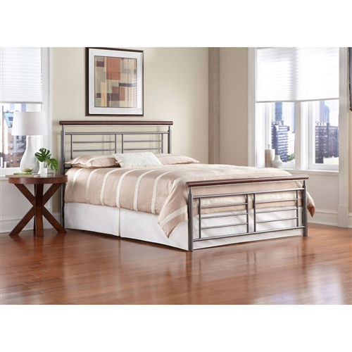 This King size Contemporary Metal Bed in Silver / Cherry Finish has a silver, geometric, metal grills accented by round metal top rails that are finished to resemble cherry wood are the perfect addition to your contemporary style room. The headboard and footboard present a clean, crisp, tailored look. the simple lines, slim silhouette and neutral finishes of the bed makes a remarkable focal point for your bedroom – a beautiful piece of modern art. The bed is available in full, queen and king sizes. It can be purchased as a complete bed or as a headboard only.