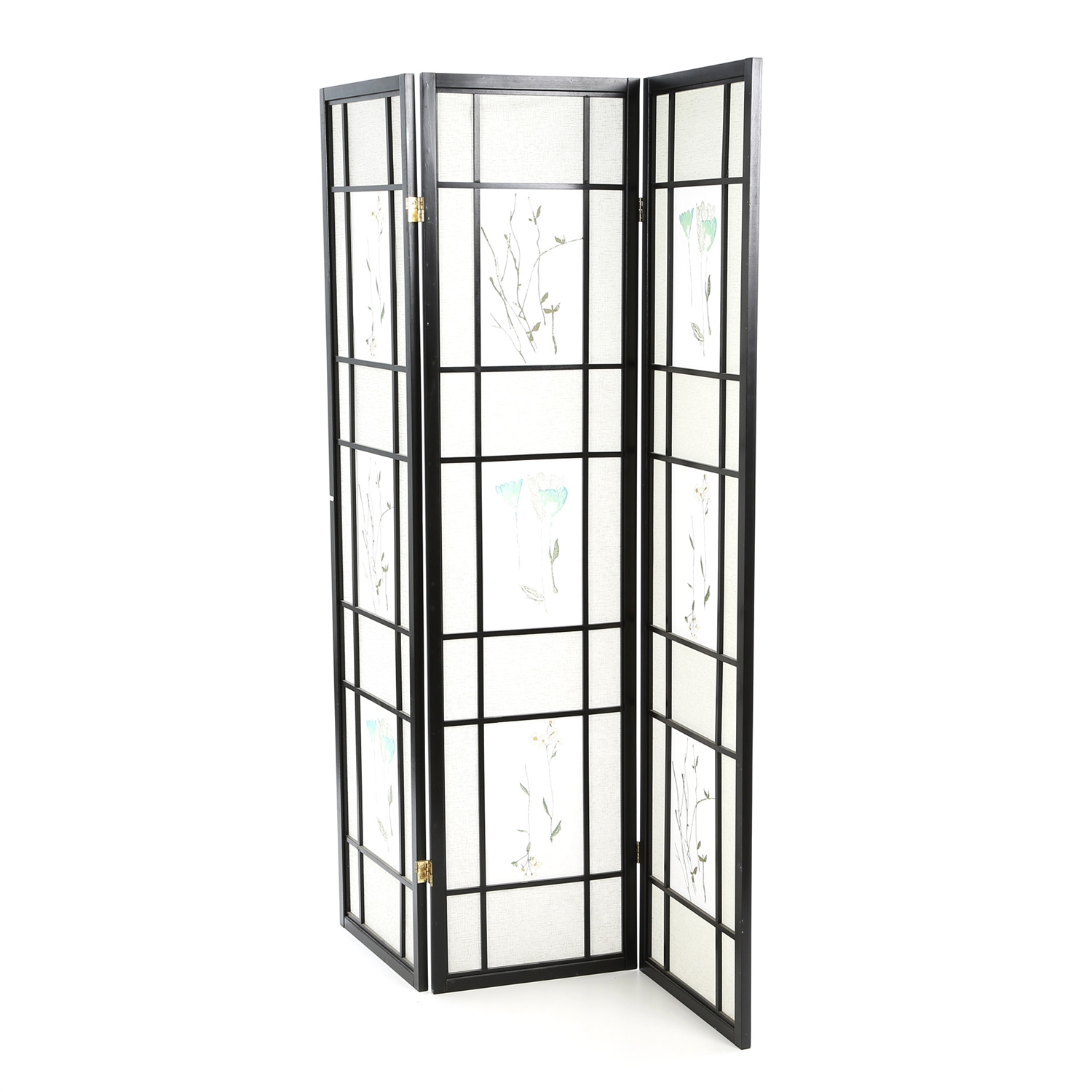 Black 3-Panel Room Divider Shoji Screen with Asian Floral Design, SBRDE88431 :  This Black 3-Panel Room Divider Shoji Screen with Asian Floral Design would be a great addition to your home. It has an Asian style and a solid wood frame construction. Chinese flower painting design; Folds easily for storage; Product Type: Folding; Style: Asian/Shoji; Theme: Asian; Color: 1: Black; Color: 2: Brown;  Country of Manufacture: Taiwan, Province of China.