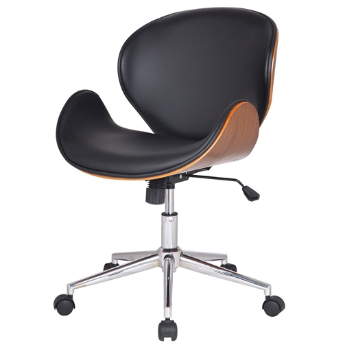 This Modern Classic Walnut / Black Faux Leather Office Chair with Curved Seat would be a great addition to your home. It has a black color and a cushioned seat back. Materials: PU leather, Plywood, Chromed steel' Features: A Perfect Combination of the Relaxing Seat Design and Functionality; 360-degree Swivel, Adjustable Height, and Tilt, Full Metal Pedestal Base for Heavy Duty use. Light assembly required.