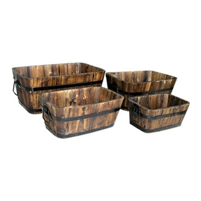 Set of 4 - Rectangular Outdoor Cedar Wood Barrel Planters in Burt Brown, RCPB1695181 :  These Set of 4 - Rectangular Outdoor Cedar Wood Barrel Planters in Burt Brown are great as planters or storage containers. Their classic, simple designs bring out the beauty of their natural cedar wood construction. Functional and practical to use indoors and out on patios, decks and lawns; Containers do not have handles; Comes with 4 different sized barrels; Drainage Holes: Yes; Recommended Plant Type: Plants; Water Resistant: Yes; Mounting Brackets Included: No. Material Details: Cedar wood; Distressed: Yes; Shape: Rectangle; Hand-Painted: Yes; Drainage Holes: Yes. Water Resistant: Yes; Insect Resistant: Yes; Warp Resistant: Yes; Rot Resistant: Yes; Anti-Shock: Yes; Liner: No; Mounting Brackets Included: No; Handles: No; Handmade: Yes; Illuminated: No; Indoor: Yes; Outdoor: Yes; Country of Manufacture: China; Assembly Required: No; Product Warranty: 1 year.