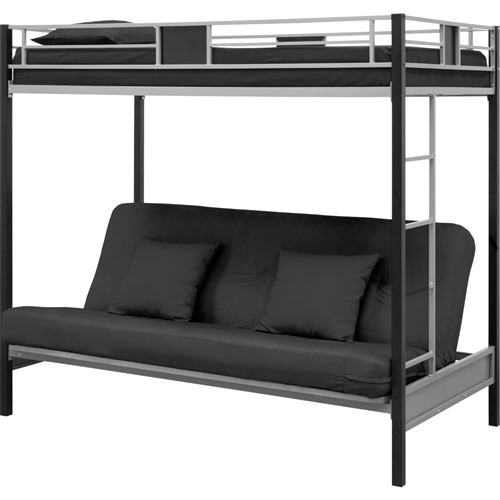 "Perfect for Dorms, Kids Rooms, small spaces and apartments -Twin over Futon Bunk Bed in Silver / Black Metal Finish ""Silver Screen"" is a twin over Futon Metal Bunk Bed, Silver/Black - Modern, hip and trendy, Twin over Futon Bunk Bed in Silver / Black Metal Finish brings a chic design to your child's bedroom, while still providing safety, versatility and durability. The clean and sleek lines of the metal frame become a focal point of the room, while the full-length guardrails, childproof mechanism and ladder are there for safety. The futon bottom bunk converts easily from couch to extra sleeper, making the Twin over Futon Bunk Bed in Silver / Black Metal Finish an ideal space-saving option for a room of any size.  Weight capacity: top bunk is 200lbs"