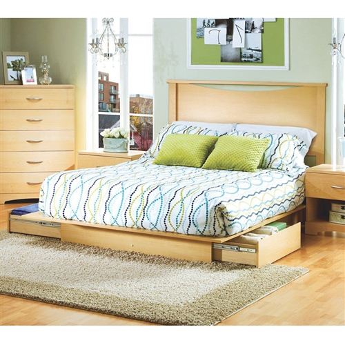 This full/queen modern platform bed in Natural Maple finish has a timeless look and blends easily in any decor. Included are the beautiful headboard, and storage drawers. It provides storage with two large drawers, one on each side, without handles. Drawers have full extension metal glides for easy access. This bed fits full or queen size mattress and box spring is not required. When used with a full mattress, a fringe of the Natural Maple finished top surface will be visible on each side and at the foot of the mattress. This bed is made of recycled CARB compliant particle panels. It has to be assembled by two adults. Measures 62 inches wide by 81 inches deep by 9 inches high. It is delivered in one box measuring 88 inches by 22 inches by 5,5 inches and weights 138 pounds. Tools are not included. 5 year warranty. Made in Canada. Matching nightstand, dressers, and bedroom furniture sold separately. Assembly required by two adults; Tools not provided; To clean, use a soft dry cloth.