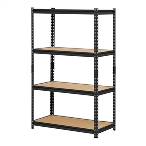 """Black Metal Industrial Shelving Unit with 4 Adjustable Shelves 60-inch Height, EBSU5991 :  This Black Metal Industrial Shelving Unit with 4 Adjustable Shelves 60-inch Height has a frame made of steel for strength, four adjustable shelves, a 3,200 lb. capacity when the weight is evenly distributed across all shelves, and a black baked enamel finish for resistance to corrosion. It is suitable for organizing and storing items. The shelves are made of particle board supported by double-riveted beams and braces for strength, and adjust in 1-1/2"""" increments to accommodate items of varying heights. The posts on this shelving unit have a two-piece design so it can be assembled vertically to create one 60 x 36 x 18 inch (H x W x D) unit, or assembled horizontally to create two 30 x 36 x 18 inch (H x W x D) units with two shelves each. (H is height, the vertical distance from lowest to highest point; W is width, the horizontal distance from left to right; D is depth, the horizontal distance from front to back.) This shelving unit's rivet lock design requires no nuts or bolts for assembly. Assembly instructions are included, tools for assembly are not included."""