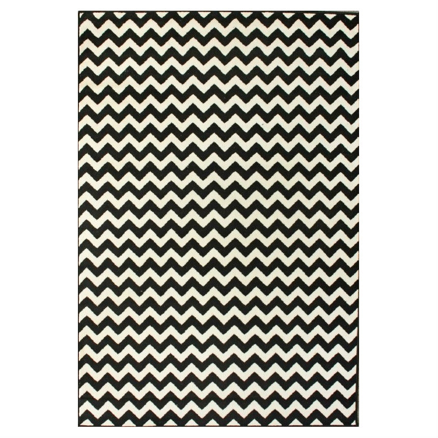 7'10 x 10'10 Black Ivory Contemporary Chevron Area Rug, NKCR66912 :  Vibrant colors and playful designs represent this 7'10 x 10'10 Black Ivory Contemporary Chevron Area Rug. Perfect for your little fashionista's bedroom or playroom. Tufted durable rugs, featuring fantasy themes that can brighten any room. Your little one will love their rug. Primary Pattern: Chevron; Primary Color: Black; Type of Backing: None; Material: Synthetic; Material Details: Polypropylene; Reversible: No; Eco-Friendly: No; Outdoor Use: No; Product Care: These rugs can be spot treated with a mild detergent and water, professional cleaning is recommended if necessary; Country of Manufacture: Egypt.