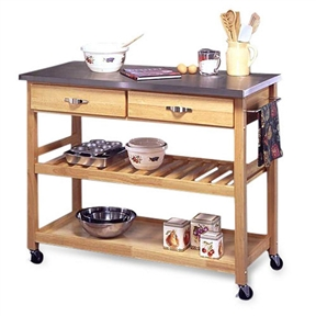 Choose this Stainless Steel Top Kitchen Cart Utility Table with Locking Wheels for your next kitchen upgrade. Constructed of sturdy, solid wood in a natural finish with brushed steel hardware. The heavy-gauge, stainless steel top is ideal for food preparation. Featuring an adjustable shelf that can also be used as a wine rack, this island is as versatile as it is stylish. It includes two utility drawers and a brushed steel kitchen towel holder. This cart is equipped with heavy-duty locking rubber casters so you can easily move it from the kitchen to the dining room. Dimensions: 44L x 20.5W x 36H inches.