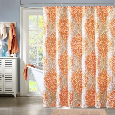Orange Taupe Damask Polyester 72-inch Shower Curtain - Machine Washable, ODSC519812 : This Orange Taupe Damask Polyester 72-inch Shower Curtain - Machine Washable is the perfect way to make a fashion statement in your bathroom. The large orange and taupe damask print creates a dramatic look with this shower curtain. Made from polyester this shower curtain is machine washable for easy care. 85gsm microfiber, printed.