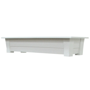 Lightweight Durable Plastic Resin Rectangular Garden Planter in White, WRGP51965818 :  This Lightweight Durable Plastic Resin Rectangular Garden Planter in White provides an extra-large, sturdy deck box - perfect to add color to the deck or patio. Stronger than typical planters, the thick walls will not bend when planted. The planter includes a plug for easy drainage. Made in USA; Rated to hold 150lbs. UV inhibitor allows colors to stay bright and attractive in the sun; Planter holds 1.25 cubic feet of potting soil; Drainage Holes: Yes; Recommended Plant Type: Flowers; Herbs; Mounting Brackets Included: No; Outdoor: Yes; Product Type: Rail planter; Material Details: Resin; Shape: Rectangle; Fade Resistant: Yes; Assembly Required: No; Product Warranty: One year warranty on manufacturers' defects.