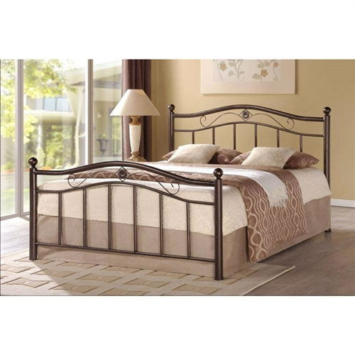 Beautify the look of your bedroom with this Full Metal Platform Bed with Headboard and Footboard in Brushed Bronze. Slatted lines, ornate carvings, swirled accents, and round finials on the headboard and footboard form the bed's classic design. This bed features the right kind of height that is ideal for hopping in and out of it with absolute convenience. No box spring is required for this bed, since there is a provision to support a standard mattress. This bed is constructed from the sturdiest form of metal which can last for many decades. Brushed bronze metal frame; Does not require box spring; Bronze finish; Frame Material: Metal; Headboard Included: Yes; Box Spring Required: No; Assembly Required: Yes; Slats Required: Yes; Slats Included: Yes; Style: Contemporary.