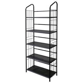 5-Tier Bookcase Storage Shelves Rack in Black Metal, OI5TMB6822 :  This 5-Tier Bookcase Storage Shelves Rack in Black Metal helps you organize all of your belongings with ample shelf space on five tiered shelves. Made of black painted metal, the bars along the sides and back give added strength to this versatile unit. The shelves are 11 inches deep and are placed about one foot apart. This shelf unit is strong, yet light enough to easily move from room to room. Easy to assemble; Unit measures 11 x 26 x 64 inches.