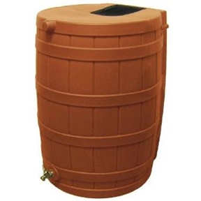 Terra Cotta 50-Gallon Rain Wizard Rain Barrel, RW50GTCRB103 :  This Terra Cotta 50-Gallon Rain Wizard Rain Barrel can collect and store up to 50 gallons of this precious rainwater resource and it will help you save money! The terra cotta colored barrel is made from ultraviolet resistant polyethylene. It is resistant to rust, mold, and rotting and features a brass spigot for easy hose hookup. There's even a debris and bug screen to keep your water clean! The Rain Wizard 50 is designed to be child and pet safe - there are no large openings for kids or pets to fall into and the barrel is overflow equipped. You can link your Rain Wizard 50 with other Rain Wizard 50s for greater capacity made easy! The barrel is made in the U.S.A., weighs 19-pounds (empty), and measures 31-inches tall x 23-inches wide.
