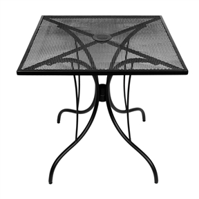 30-inch Square Patio Dining Table in Black Metal with Umbrella Hole, BDTU898415 :  This 30-inch Square Patio Dining Table in Black Metal with Umbrella Hole would be a great addition to your home. Includes a weather resistant finish.  Umbrella cap included; Table Shape: Square; Contemporary; Powder Coated Finish: Yes; Primary Frame Material: Metal; Secondary Frame Material: Metal; Top Material: Metal;  Weather Resistant: Yes; Umbrella Hole: Yes; Cooler Insert Included: No; Seating Capacity: 4; Commercial Use: Yes; Eco-Friendly: No; Country of Manufacture: China; Assembly Required: Yes; Designed for outdoor use; Top and base have hole for umbrella; Umbrella base required, sold separately; Folding: No.