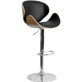 Beautiful and elegant describe this Modern Adjustable Height Barstool with Curved Black Vinyl Seat & Back has a comfortably padded seat. This stool is complemented with a comfortable vinyl padded seat pad and a height adjustable swivel seat that adjusts from counter to bar height with the handle located below the seat. The base and footrest have a chrome finish to complement the chair's modern design.