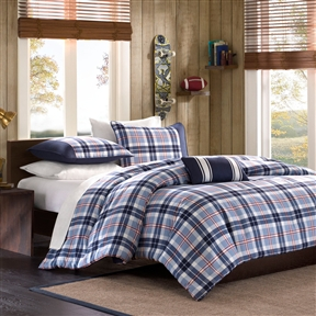 Make your bedroom a warm, cozy and vibrant retreat with this Full / Queen size Blue Red Peach Plaid 4-Piece Comforter Set. Its appealing design can be the perfect choice for your son's or a young man's room. Its vibrant blue shade makes the interiors more cheerful and bright. This Full / Queen size Blue Red Peach Plaid 4-Piece Comforter Set comprises of a comforter, sham for twin size or 2 for full and a decorative pillow. Its design has a mix of light blue and dark blue plaid with a hint of stripes which gives it a splash of color without overpowering the paid pattern. Its pillowcases have a solid dark blue shade at the back and a dark blue stripe in the front to complement its design. This gorgeous set's comforter/ sham face is created from good quality 100 % polyester that prevents it from damage. The comforter/sham back is made from durable 100 % polyester brushed fabric. Its comforter is filled with supreme quality 200g poly fill. The pillow has a poly fill and a high quality cover for providing comfort. This set weighs 6 lbs making it perfect for use. It is the ideal choice for investing in a stunning and trendy comforter set, offering the best in quality and affordable in price.