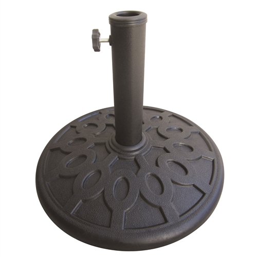 17.6 lb Sturdy Outdoor Resin Umbrella Base in Grey Black FInish, W3137UP :  Give your outdoor space a beautiful and stylish look with the 17 lb Resin Umbrella Base. Constructed from resin and other finest quality materials, this umbrella base instantly adds an old world charm to your outdoor space. This Free Standing Resin Umbrella Base from Bond Manufacturing sports a black and grey finish that adds to its aesthetic appeal. The lever on the side of this stand allows you to fix the umbrella perfectly. This umbrella stand can be used in all climatic conditions, throughout the year. It can be cleaned with a soft moist cloth. Features: Adjustable inserts allow for varying pole diameter; Color Finish: Black / Grey; Base Placement: Free standing base; Adjustable Fit: Yes.