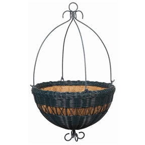16-inch Hunger Green Resin Wicker Hanging Planter with Coco Fiber Liner, RP891851 :  This 16-inch Hunger Green Resin Wicker Hanging Planter with Coco Fiber Liner will create a perfect complement to spreading blooms. The basket has the vintage beauty of wicker, but it's actually made of a durable, weather-resistant PVC resin. The resin is hand-woven on a sturdy powder-coated metal frame for extra stability and long-lasting resilience. Ideal for outdoor use, the resin material will stand up to the elements as it provides a happy home for your plant. Includes a coco fiber liner for healthy drainage. Drainage Holes: Yes; Drainage Holes: Yes; Liner: Yes; Handmade: Yes; Eco-Friendly: Yes; Country of Manufacture: Viet Nam.