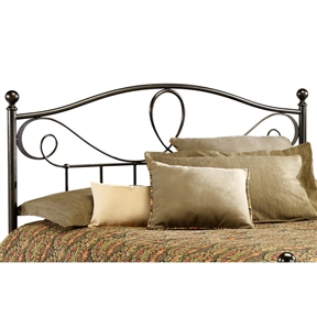 For anyone who wants an eye-catching headboard, this King size Elegant Metal Headboard in French Roast Finish is for you! With a dynamic design featuring a standard-looking grill beneath an elegant pattern of curves, twists, and provocative shapes, this headboard has some attitude. Thick, strong finials sit atop stout posts to make this headboard a combination of sturdy ruggedness and finesse design. This is a bed that is sure to garner attention. CPSIA or CPSC Compliant: Yes; Gloss Finish: Yes; Finish: French Roast; ISTA 3A Certified: Yes; Hardware Finish: French Roast; General Conformity Certificate: Yes; Frame Material: Metal. Non-Toxic: Yes; Finished Back: Yes; Frame Required: Yes; Drill Holes for Frame: Yes; Product Care: Wipe with a clean, damp cloth.