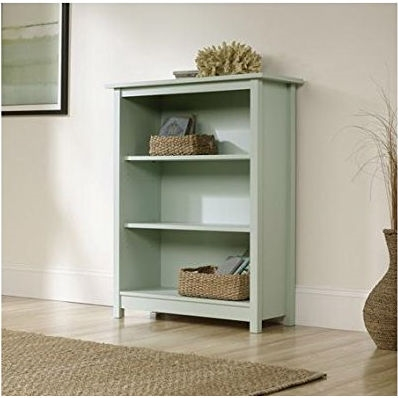 Whimsical without being fussy, this Light Blue Green-Wood Finish Bookcase with Adjustable Shelves offers simple, clean lines. It's applications throughout your home are endless. It is perfect for showcasing family photos, organizing cookbooks, or containing the clutter in high traffic areas. Whether your need is matchy, mix and match, or unique room accent, Original Cottage in three colors - Cobblestone, Melon Yellow and Rainwater - is a modern classic that will add eye appeal to any home.