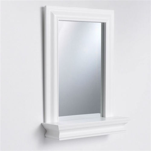 This Framed Bathroom Mirror Rectangular Shape with Bottom Shelf in White Wood Finish would be a great addition to your home. It has a beautiful crown molding and detailed frame edging. Ledge-style shelf offers space for small bud vases and other collectibles; Beautiful crown molding and detailed frame edging.
