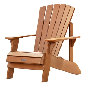 UV Protected Simulated Wood Adirondack Chair, LAC616110 :  Create the ideal outdoor living space with this UV Protected Simulated Wood Adirondack Chair. Constructed of weather-resistant Polystyrene, the chair is UV protected and designed for outdoor use. Unlike wooden furniture, the simulated wood will not splinter, warp or rot and never needs to be painted or varnished. So enjoy an afternoon relaxing with family and friends with the Adirondack Chair from Lifetime Products. Uv-protected will not crack, chip or peel; Quick-easy assembly; Stain Resistant and Easy to Clean; Stainless steel screws.