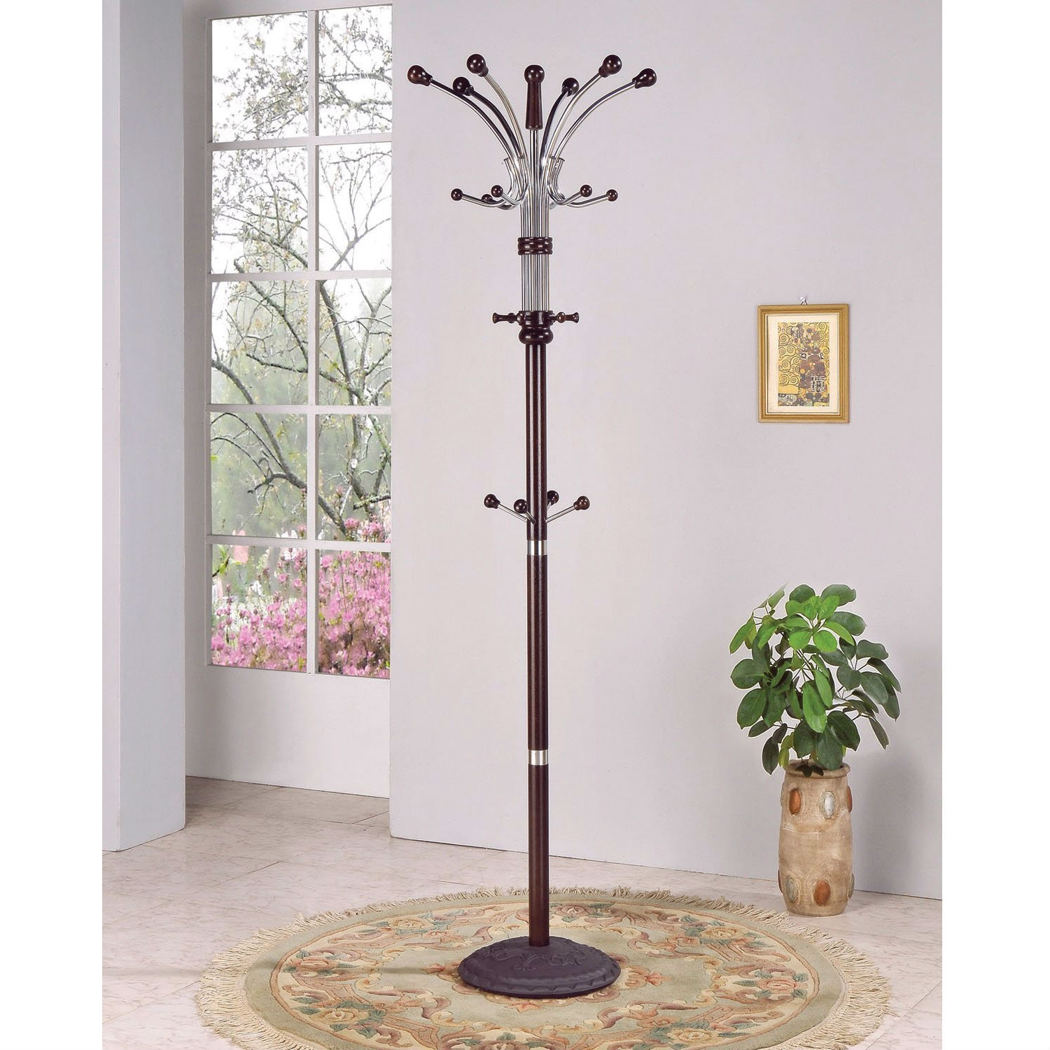 Wood and Metal Coat Rack Hat Stand with Hooks on Top and Middle, AHWM4972 :  This Wood and Metal Coat Rack Hat Stand with Hooks on Top and Middle comes in espresso finish. Features coat hooks on top and middle. Great and practical in use for any home and office. Made of iron tube and 43-mm wooden material. Some assembly may be required. Made in Taiwan. This product weighs 20-pound. Measures 14-inch length by 14-inch width by 74-inch height.
