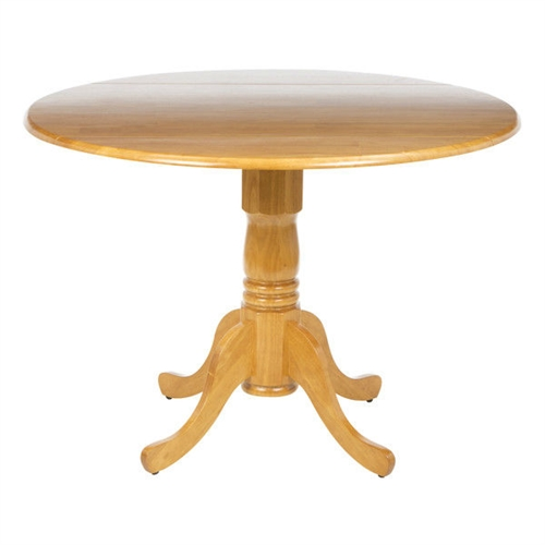 This Round 42-inch Drop-Leaf Dining Table in Oak Wood Finish adds a blush of elegance to your dining area. This round shaped dining table features a pedestal base with intricate carvings. It has a drop leaf on both the sides, which can be expanded anytime. It is an attractive addition to a traditional home setting. The solid construction of the table ensures years of reliable use. This dining table is ideal for a casual dining setting and it has a seating capacity of four people. It is available in multiple finishes. The Round 42-inch Drop-Leaf Dining Table in Oak Wood Finish is easy to assemble. It can be regularly wiped with a clean and damp cloth.