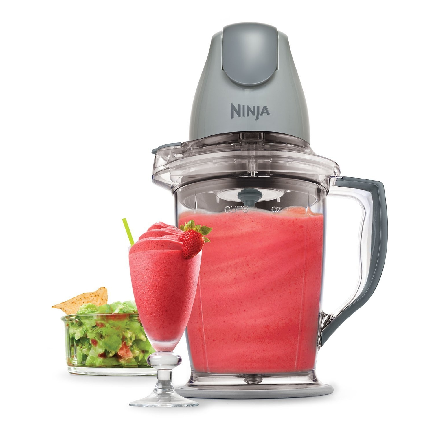 Put the power in the palm of your hand with this 400 Watt Complete Blender Food Processor Pitcher with Pulse Technology that crushes ice into snow in seconds, blends frozen fruits into creamy smoothies, and chops fresh ingredients evenly! Mince, dice, chop, blend, and puree for consistent results in the 16 oz (2 cup) chopper bowl and achieve perfect frozen blending in the 48 oz (6 cup) pitcher. The interchangeable and ergonomic 400-watt power pod quickly switches between the 16-oz chopper bowl or 48-ounce pitcher for added versatility in the kitchen. The pod features a large one-touch pulsing button for ultimate control and consistent results. Wide, no-slip bases and splashguards on the pitcher and chopper keep everything steady and clean. For added convenience, storage lids are included to keep your food fresh and all removable parts are dishwasher-safe.