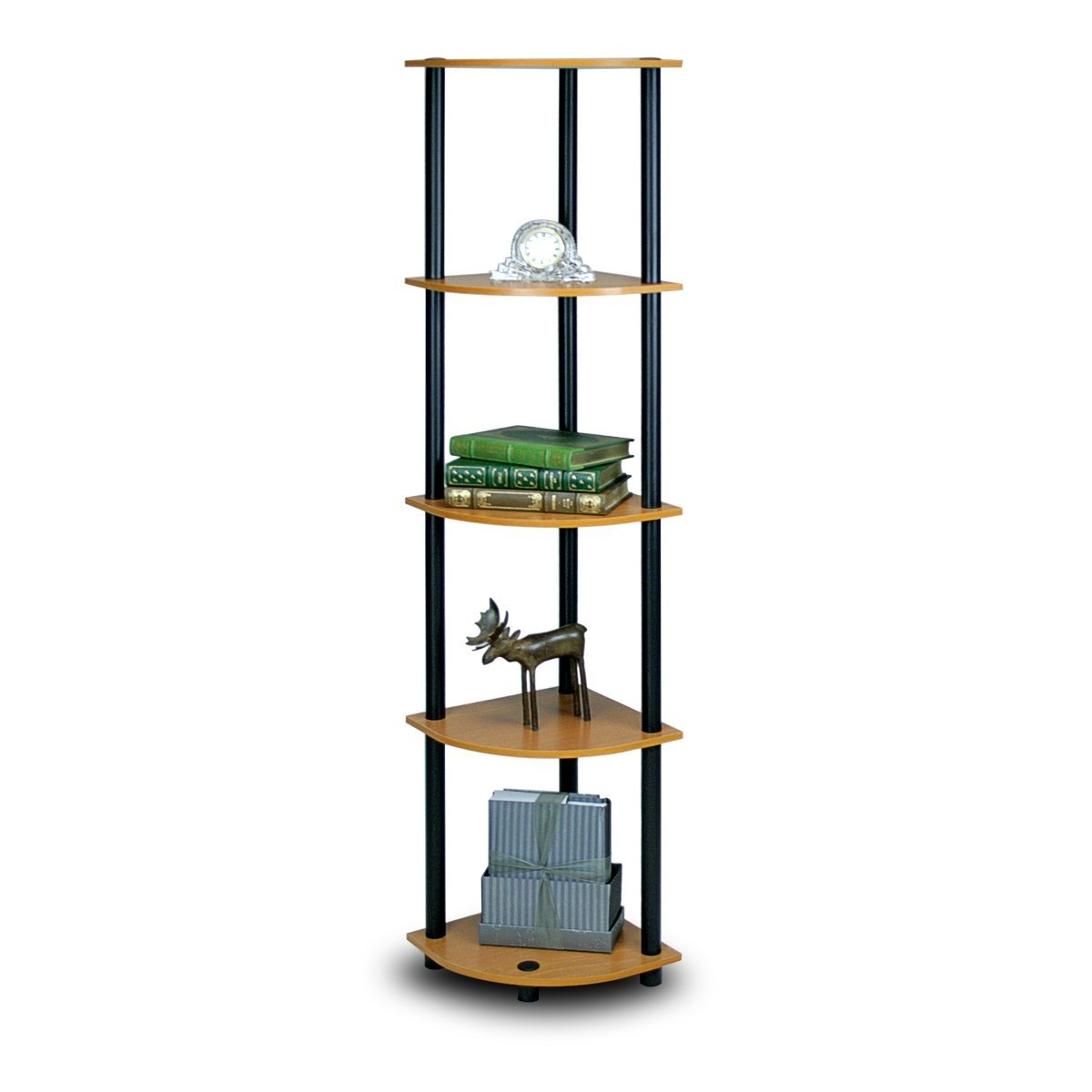 This 5-Tier Corner Display Shelf Bookcase in Light Cherry & Black is designed to meet the demand of low cost but durable and efficient furniture. It is proven to be the most popular furniture due to its functionality, price, and the no hassle assembly. The materials comply with e1 grade particle board for furniture. There is no foul smell of chemicals, durable and it is the most stable particleboard used to make furniture. Care instructions: wipe clean with clean damped cloth. Avoid using harsh chemicals. We are pleased to send you the replacement part free of charge. Pictures are for illustration purpose. All decor items are not included in this offer. Pictures are for illustration purpose. All decor items are not included in this offer.