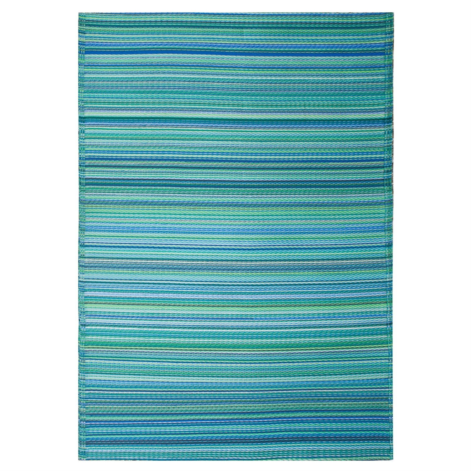 4' x 6' Indoor / Outdoor Area Rug with Turquoise Blue Green Stripes, FCIOR4801 :  The classic striped pattern of this 4' x 6' Indoor / Outdoor Area Rug with Turquoise Blue Green Stripes makes it easy to incorporate into any room, while the array of vibrant hues makes it a best seller. The multicolored straws are carefully blended together to create a unique pattern every time. These beautifully crafted rugs are made following the fair trade principles. They are made using premium quality recycled plastic straws which are tightly woven together to offer strength, softness and beauty. Being plastic, moisture will have no effect on the mat and it will not attract mildew. Reversible: change the look of your decor, Suitable for indoor and outdoor uses; Lightweight: comes with jute bag; Actual colors may vary from the image(s) shown due to manufacturing limitations; Made From Multicolored Straws: Made of plastic tubes of various shades of blue and green.
