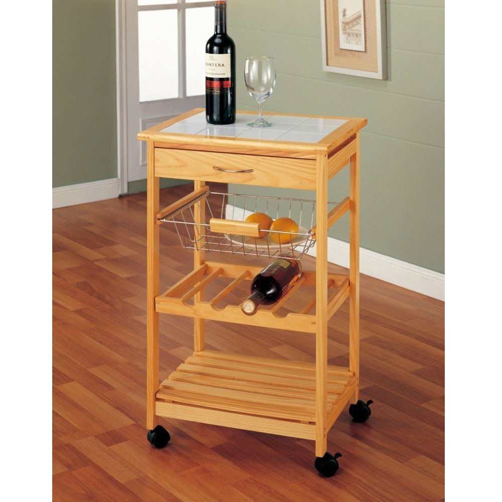 This Tile Top Wooden Kitchen Cart with Casters is great for everyday use and entertaining. The flat tiled surface provides room for food platters or wine glasses while the four slots can hold your favorite bottles of wine. There's extra storage in the drawer, pull out wire basket and the bottom shelf.