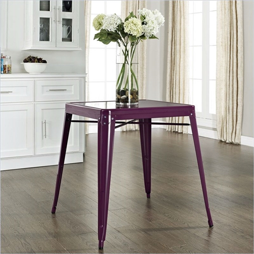 Originally made famous in the quaint bistros of France, these Mid-century French Cafe Style Powder-coated Steel Dining Table in Purple will offer a dose of nostalgia combined with careful consideration for your wallet. This inspired revival evokes a sense of a true vintage find.