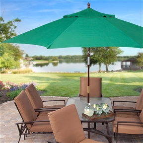 11-Ft Wood Patio Umbrella with Green Canopy - Commercial Grade, GRUFF887471 :  You will have it made in the shade when you stay cool beneath this 11-Ft Wood Patio Umbrella with Green Canopy - Commercial Grade. This big umbrella is just the thing to make relaxing or entertaining outside a whole lot more comfortable. Ideal for use with a patio table, this umbrella has a hardwood mahogany-stained pole with brass accents and features a double pulley lift with eight ribs to support its premium polyester shade. This umbrella is available in six color options to coordinate nicely with your outdoor furniture. Spun-poly canopy in a variety of color options; Hardwood pole measures 1.375 in.; Features a double-pulley lift; non-tilting; 8 ribs for excellent canopy support; Ideal for use with 54- to 72-inch patio tables; Use a 75 lb. stand with use through table; Not recommended for freestanding use; Not recommended for commercial use; Commercial Grade Yes; International Shipping Canada; Number of Ribs 8; Pole Material Wood; Shape Round; Warranty Manufacturer Warranty Included.