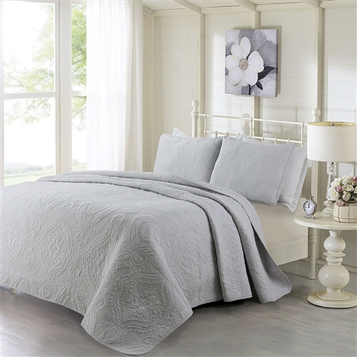 This Queen 3-Piece Cotton Bedspread Set with 2 Shams in Grey Quilted Damask Pattern would be a great addition to your home. It is soft to the touch, 100% cotton Cover, Filling: 50% cotton,50% polyester. Wrinkle-free, easy care; Machine-washable; Queen Set Includes One Quilt (88 x 92 inches), Two Shams (20 x 26 inches each)