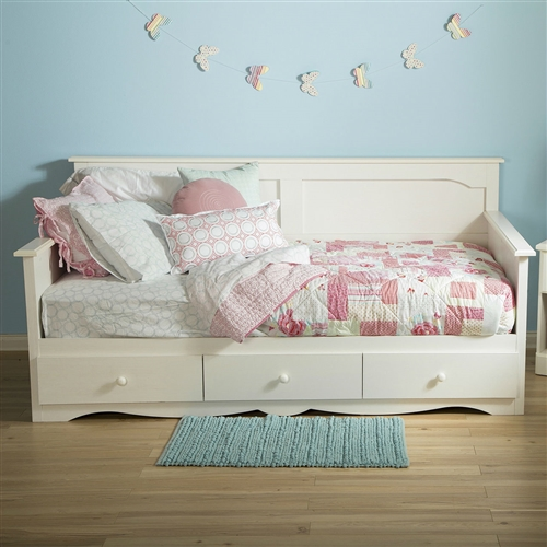Twin size Country Style White Wood Daybed with 3 Storage Drawers: Product Code: BSTD5198412 : This Twin size Country Style White Wood Daybed with 3 Storage Drawers is far from being old-fashioned and will charm you with its elegance and versatility. A day bed with 3 drawers as a bonus? Now that's smart. Wooden knob; Metal drawer slides for smooth gliding; Can support a total weight of up to 250 lbs; Whitewash finish; Use for kids bedroom; Requires twin size mattress; 5 year; Style: Country/Cottage; Frame Material: Manufactured wood; Frame Material Details: Laminated particle board; Mattress Included: No; Daybed Weight Capacity: 250 Pounds; Distressed: No; Country of Manufacture: Canada.