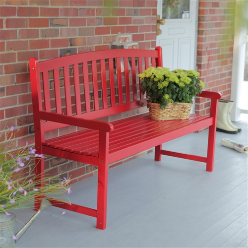 5-Ft Outdoor Garden Bench in Red Wood Finish with Armrest, CPB5FT15183 : This 5-Ft Outdoor Garden Bench in Red Wood Finish with Armrest makes a beautiful addition to any garden, porch, or patio. This handsome bench is exclusively offered through this site and unavailable elsewhere, featuring a sturdy frame constructed from solid acacia and a sleek red finish. A contoured seat and straight armrest provide comfort and a slatted back provides support. The piece assembles quickly and easily. Slatted curved back and contoured seat; Straight armrests and high back; Seat Length 5 foot.