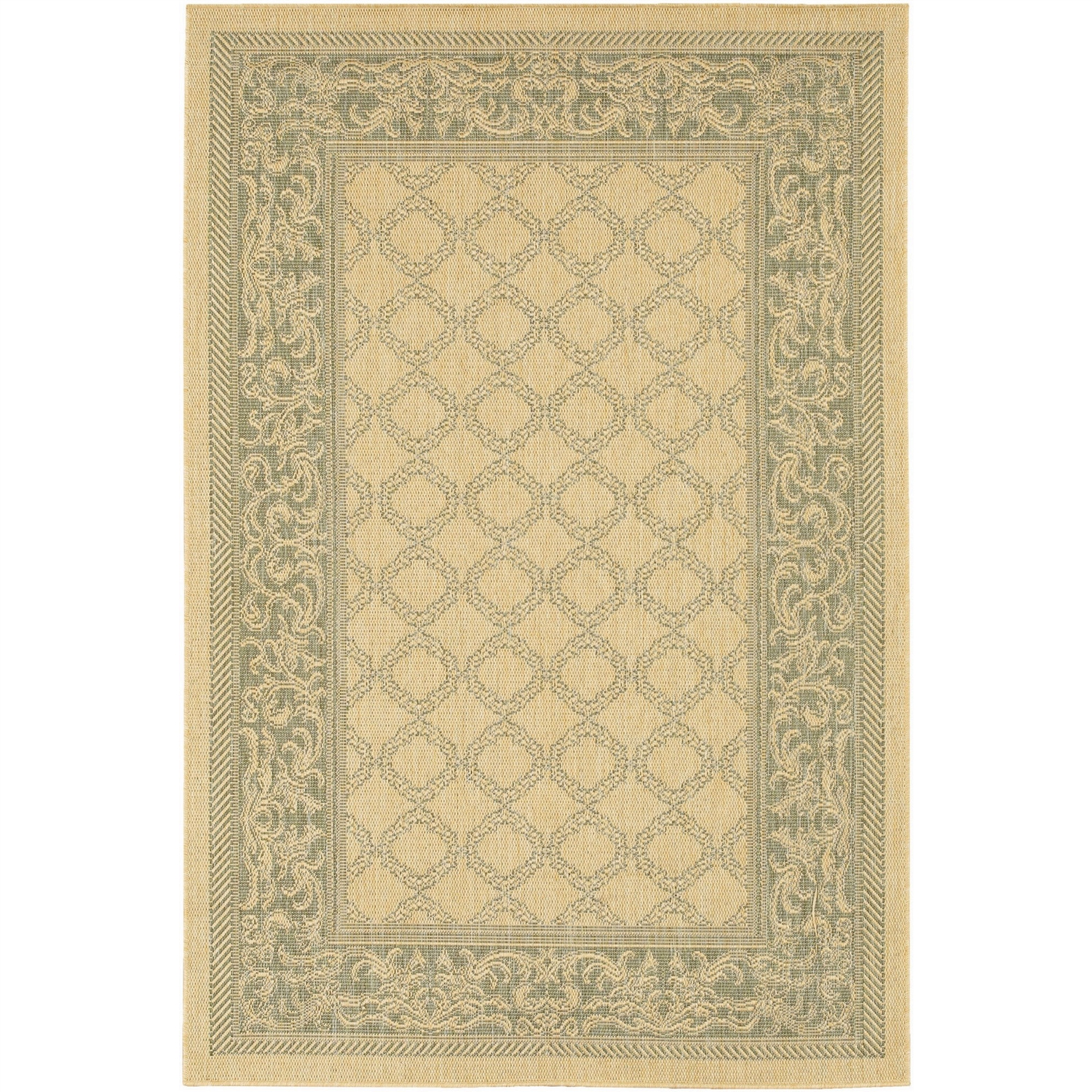 8'6 x 13' Large Indoor Outdoor Area Rug with Garden Trellis Lattice Pattern, CRGL28913 :  This 8'6 x 13' Large Indoor Outdoor Area Rug with Garden Trellis Lattice Pattern would be a great addition to your home. It is made of synthetic materials and is made in Belgium. 100% Recyclable; Construction: Machine made; Color: Natural / Green; Construction: Machine Made; Technique: Machine Woven; Primary Pattern: Geometric; Oriental; Primary Color: Natural; Border Material: Synthetic; Border Color: Natural. Material Details: Polypropylene; Reversible: No; Rug Pad Needed: Yes; Water Resistant: Yes; Mildew Resistant: Yes; Eco-Friendly: No. Product Care: Vacuum frequently. Have professionally cleaned when needed. Country of Manufacture: Belgium; Product Warranty: 1 year limited warranty.