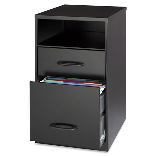 This Black Metal 2-Drawer Filing Cabinet with Office Storage Shelf has a shelf for quick access and two drawers for storing files and supplies.
