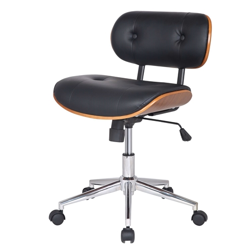 This Modern Black Faux Leather Swivel Office Chair with Cushion Seat Back would be a great addition to your home. It has a black color and a cushioned seat back. Materials: PU leather, Plywood, Chromed steel; Features: A Perfect Combination of the Relaxing Seat Design and Functionality; 360-degree Swivel, Adjustable Height, and Tilt, Full Metal Pedestal Base for Heavy Duty use; Light assembly required.