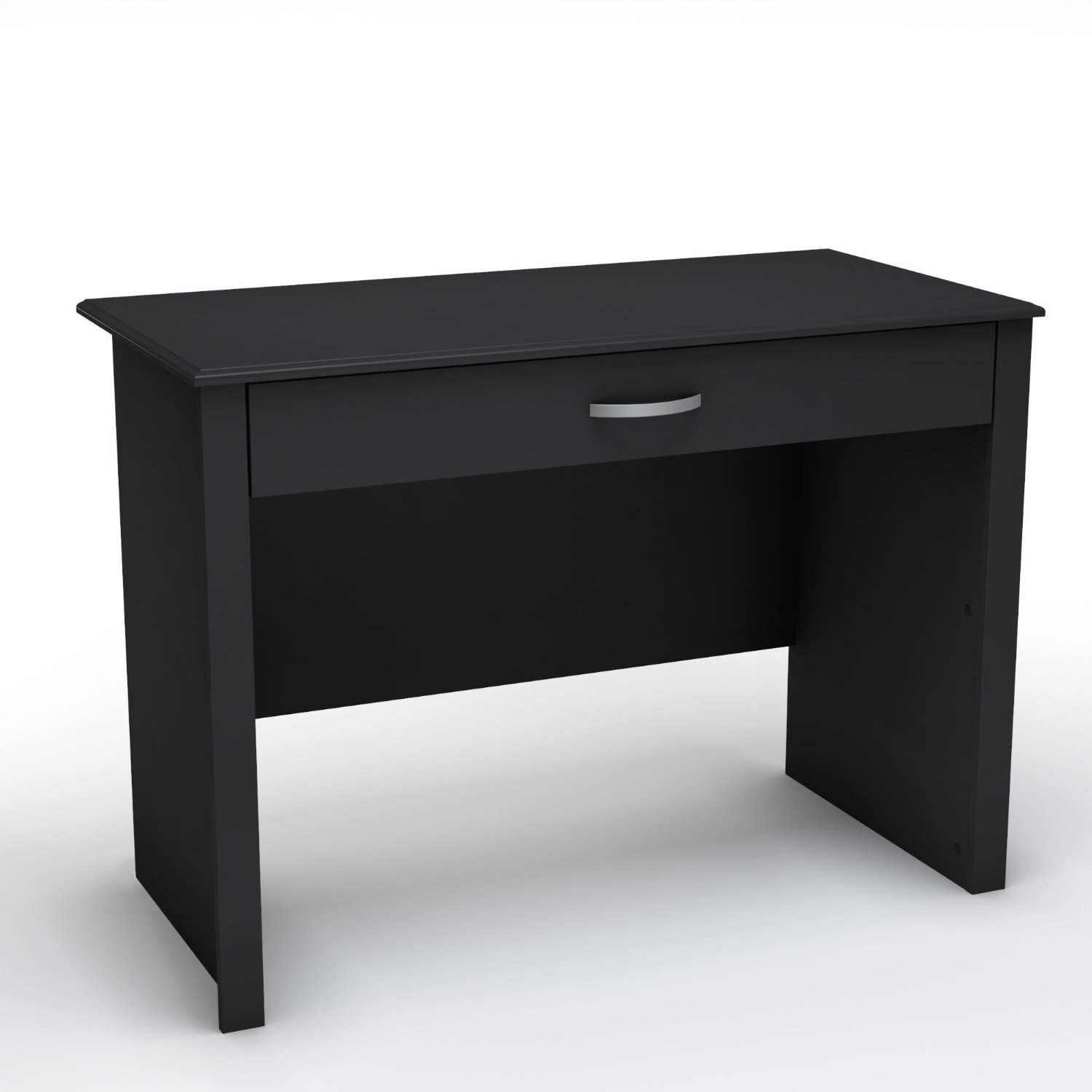 This Black Laptop Computer Desk with Keyboard Tray Drawer features an unfettered design and clean shapes to give the home office a stylized minimalist look. The work surface of this desk is a perfect size for laptop computers, but still large enough to accommodate desktop computers. The sliding keyboard tray is a practical feature, and everything tucks away neatly thanks to the tray's folding front. It is made of recycled CARB compliant particle panels. Metal glides.
