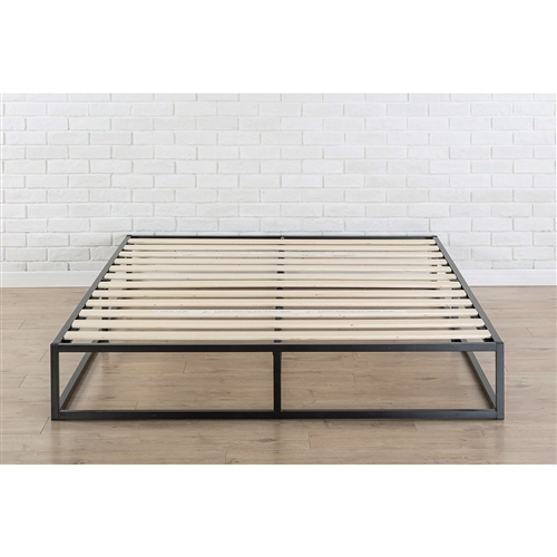 This Queen size Modern 10-inch Low Profile Metal Platform Bed Frame with Wood Slats is designed for strength and style. Perfect for higher profile mattresses or those preferring a modern style. The extra strength steel framed mattress foundation features wooden slats that provide strong support for your memory foam, latex, or spring mattress. 10 inches high and compatible with or without a box spring. Easy to assemble and arrives in a narrow box to make moving through hallways and upstairs easier.