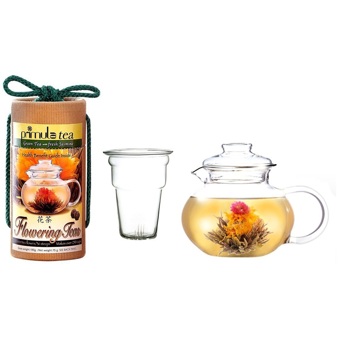 Take a moment to enjoy some of life's simple pleasures and enjoy a unique tea time with this Flowering Tea Set with 40-oz Stove Top Clear Glass Pot Kettle and Infuser, which includes a 40-ounce clear glass tea pot and a canister of flowering teas containing 12 different green tea flowers with jasmine flavor. The durable tea pot holds 5 cups of liquid (40 ounces) and is made out of hand-blown borosilicate glass--the same glass used in laboratories. It is both strong and resistant to temperature extremes, and is also microwave and dishwasher safe. Simply add loose tea in the included infuser and pour through hot water. Removing the infuser is the ideal way to watch Primula's flowering teas in bloom and make tea. Rather than use tea bags, Primula flowering teas are made by artisans in China and are comprised of hand sewn AA grade Green Tea with all natural flowers. The green tea is blended 5 times with jasmine to make for an aromatic scent. The flowers come in a sealed foil with a 2-1/2-year shelf life, and each flower can be used three times within a 24 hour period. Since the tea pot holds 5 cups of tea, each flower can make 15 cups. All of Primula Flowering Teas are made from the finest all natural tea leaves, but it is not certified organic, and it is inspected and certified by CIQ, a special Chinese governing agency that works with the approval of the FDA.