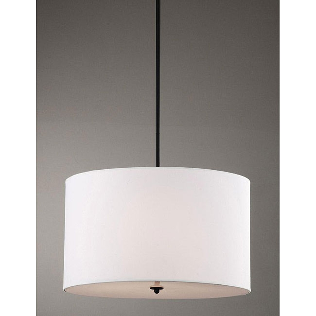 This Indoor 4-light White Shade Pendant Chandelier features a black finish and white fabric shades. With a 4-light design, this chandelier will add class to your home decor. This fixture does need to be hard wired. Professional installation is recommended.