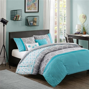 Add a bright and modern collection to your space with the Twin / Twin XL size Aqua Geometric Blue / Gray Comforter Set. Made from polyester microfiber, the bright aqua color and geometric design bring your space to life. One matching sham features a two of the comforter designs to bring the aqua color all the way up the bed. Two decorative pillows feature hexagons to complete this geometric look. Machine wash cold, gentle cycle and separately; Do not bleach; Tumble dry low, remove promptly and do not iron.