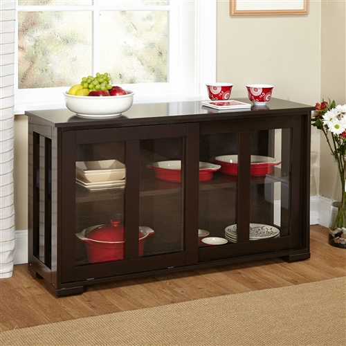 Keep Your Kitchen Organized And Stylish With This Espresso Sideboard Buffet Dining Cabinet 2