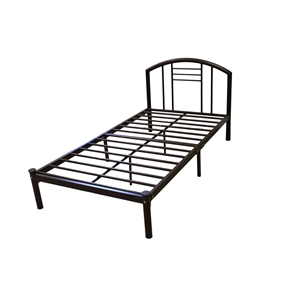 This Twin size Platform Bed Frame with Headboard in Bronze Finish would be a great addition to your home. It has a contemporary style and a silver finish. Style: Contemporary; Finish: Silver; Distressed: No; Frame Material: Metal; Headboard Storage: No; Headboard Included: Yes; Footboard Included: No; Box Spring Required: No; Underbed Storage: No; Hidden Storage: No