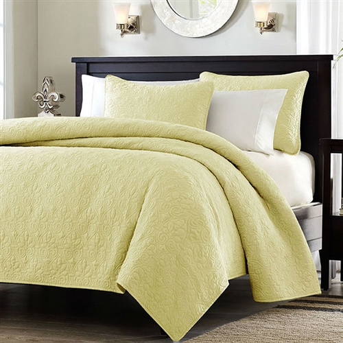 Full / Queen size Quilted Coverlet Set with 2 Shams in Yellow Microsuede Fabric: YFQ68481 : This Full / Queen size Quilted Coverlet Set with 2 Shams in Yellow Microsuede Fabric is the perfect coverlet to use as a layering piece or an alternative to your comforter for a new solid look. The classic stitch pattern pairs easily with your existing décor and will sure to add a new decorative element to your bedroom. The coverlet has 100% cotton fill and the face and the reverse of the coverlet are a super soft brushed fabric. Dust ruffle/bed skirt is not included; Pattern: Nature/Floral; Material: Microsuede; Polyester; Pieces Included (Twin / Twin XL Size): 1 Coverlet, 1 Standard Sham; Gender: Unisex; Life Stage: Adult; Reversible: Yes; Product Type: Quilt/ Coverlet set; Country of Manufacture: China.