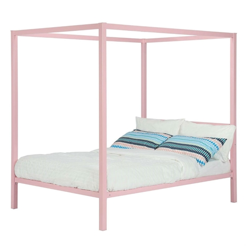 This Twin size Metal Platform Canopy Bed Frame in Pink - Great for Kids Girls and Teens is the perfect enclave for your child to have a peaceful night's sleep. Available in pink and white, you can quickly and easily add drapes to accommodate the changing tastes as they grow up in what certainly will be an eye-catching piece. Look no further for the perfect bed for your little princess as the Twin size Metal Platform Canopy Bed Frame in Pink - Great for Kids Girls and Teens will create the feeling of a room worth of a fairy tale.