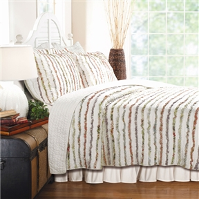 This Twin size 100% Cotton Ruffle Stripes Quilt Set - Machine Washable has ruffles of floral printed fabrics are carefully sewn to an ivory ground on the face of this frayed edge quilt, giving it an antique look and feel. Brings shabby elegance style with a variety of colors to any room, matching a wide range of color themes. Product Type: Quilt/Coverlet set; Sham Material: Cotton; Reverse Side Material: Cotton. Country of Manufacture: China.