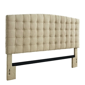Updating the look of your bedroom has never been easier with this King size Button Tufted Padded Headboard Upholstered in Beige Microfiber. This tufted headboard will suit a variety of decor and accommodates a king size bed. The upholstered headboard is thickly padded with tufted details which boast style and comfort, making your evenings spent watching TV or reading more enjoyable. The headboard is upholstered with a plush microfiber fabric for a sophisticated look that adds a romantic touch to your bedroom. The headboard is the ideal choice to update your bedroom and it effortlessly combines luxury with comfort. Use the headboard as a standalone piece, or complete the look of your room with the matching Button Tufted Bench (sold separately).